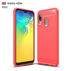 Luxury Carbon Fiber Brushed Wire Drawing Silicone TPU Back Cover for Samsung Galaxy A20e - Red