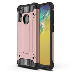 King Kong Armor Premium Shockproof Dual Layer Rugged Hard Cover for Samsung Galaxy A20e - Rose Gold