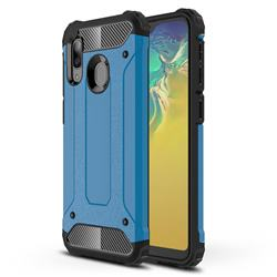 King Kong Armor Premium Shockproof Dual Layer Rugged Hard Cover for Samsung Galaxy A20e - Sky Blue
