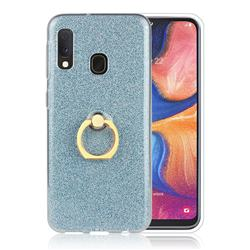 Luxury Soft TPU Glitter Back Ring Cover with 360 Rotate Finger Holder Buckle for Samsung Galaxy A20e - Blue
