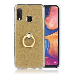 Luxury Soft TPU Glitter Back Ring Cover with 360 Rotate Finger Holder Buckle for Samsung Galaxy A20e - Golden