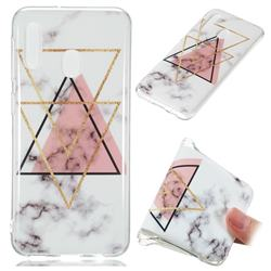 Inverted Triangle Powder Soft TPU Marble Pattern Phone Case for Samsung Galaxy A20e