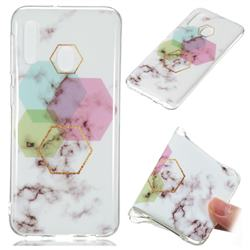Hexagonal Soft TPU Marble Pattern Phone Case for Samsung Galaxy A20e