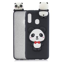 Red Bow Panda Soft 3D Climbing Doll Soft Case for Samsung Galaxy A20e