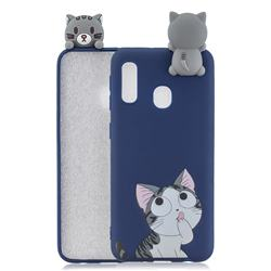 Big Face Cat Soft 3D Climbing Doll Soft Case for Samsung Galaxy A20e