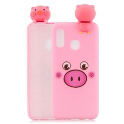 Small Pink Pig Soft 3D Climbing Doll Soft Case for Samsung Galaxy A20e