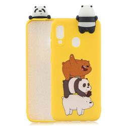 Striped Bear Soft 3D Climbing Doll Soft Case for Samsung Galaxy A20e