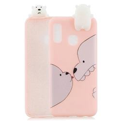 Big White Bear Soft 3D Climbing Doll Soft Case for Samsung Galaxy A20e