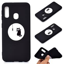 Fish Fishing Cat Chalk Drawing Matte Black TPU Phone Cover for Samsung Galaxy A20e