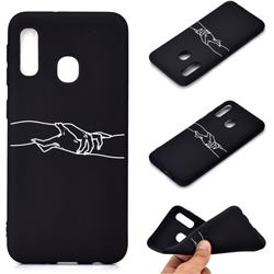 Handshake Chalk Drawing Matte Black TPU Phone Cover for Samsung Galaxy A20e