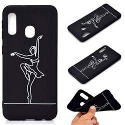 Dancer Chalk Drawing Matte Black TPU Phone Cover for Samsung Galaxy A20e