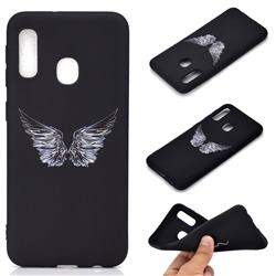 Wings Chalk Drawing Matte Black TPU Phone Cover for Samsung Galaxy A20e