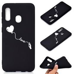 Heart Balloon Chalk Drawing Matte Black TPU Phone Cover for Samsung Galaxy A20e
