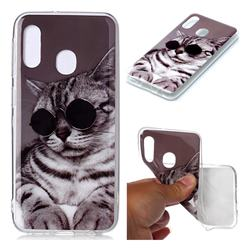 Kitten with Sunglasses Soft TPU Cell Phone Back Cover for Samsung Galaxy A20e