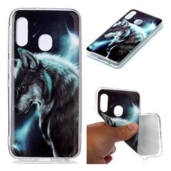 Fierce Wolf Soft TPU Cell Phone Back Cover for Samsung Galaxy A20e