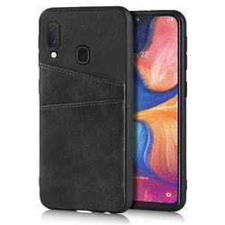 Simple Calf Card Slots Mobile Phone Back Cover for Samsung Galaxy A20e - Black