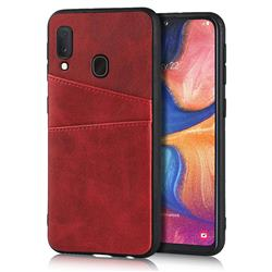Simple Calf Card Slots Mobile Phone Back Cover for Samsung Galaxy A20e - Red