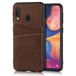 Simple Calf Card Slots Mobile Phone Back Cover for Samsung Galaxy A20e - Coffee