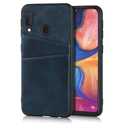 Simple Calf Card Slots Mobile Phone Back Cover for Samsung Galaxy A20e - Blue