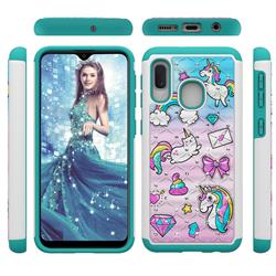 Fashion Unicorn Studded Rhinestone Bling Diamond Shock Absorbing Hybrid Defender Rugged Phone Case Cover for Samsung Galaxy A20e