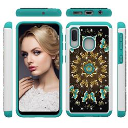 Golden Butterflies Studded Rhinestone Bling Diamond Shock Absorbing Hybrid Defender Rugged Phone Case Cover for Samsung Galaxy A20e