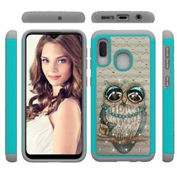 Sweet Gray Owl Studded Rhinestone Bling Diamond Shock Absorbing Hybrid Defender Rugged Phone Case Cover for Samsung Galaxy A20e