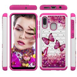 Rose Butterfly Studded Rhinestone Bling Diamond Shock Absorbing Hybrid Defender Rugged Phone Case Cover for Samsung Galaxy A20e