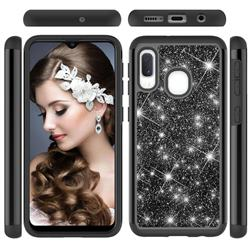 Glitter Rhinestone Bling Shock Absorbing Hybrid Defender Rugged Phone Case Cover for Samsung Galaxy A20e - Black