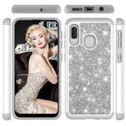 Glitter Rhinestone Bling Shock Absorbing Hybrid Defender Rugged Phone Case Cover for Samsung Galaxy A20e - Gray