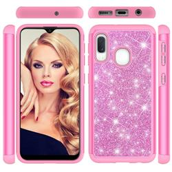 Glitter Rhinestone Bling Shock Absorbing Hybrid Defender Rugged Phone Case Cover for Samsung Galaxy A20e - Pink