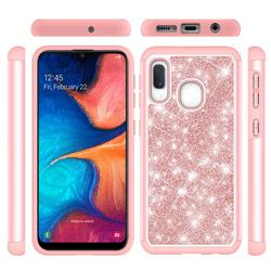Glitter Rhinestone Bling Shock Absorbing Hybrid Defender Rugged Phone Case Cover for Samsung Galaxy A20e - Rose Gold