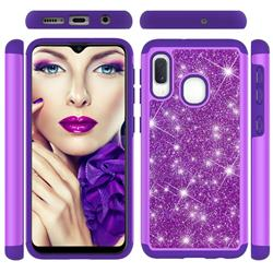 Glitter Rhinestone Bling Shock Absorbing Hybrid Defender Rugged Phone Case Cover for Samsung Galaxy A20e - Purple