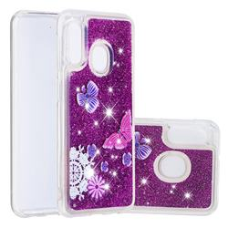 Purple Flower Butterfly Dynamic Liquid Glitter Quicksand Soft TPU Case for Samsung Galaxy A20e