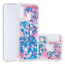 Blue Plum Blossom Dynamic Liquid Glitter Quicksand Soft TPU Case for Samsung Galaxy A20e