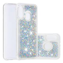 Dynamic Liquid Glitter Quicksand Sequins TPU Phone Case for Samsung Galaxy A20e - Silver