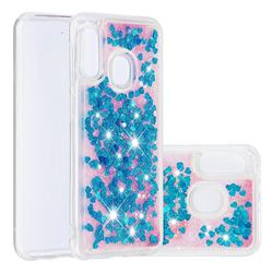 Dynamic Liquid Glitter Quicksand Sequins TPU Phone Case for Samsung Galaxy A20e - Blue