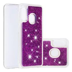 Dynamic Liquid Glitter Quicksand Sequins TPU Phone Case for Samsung Galaxy A20e - Purple