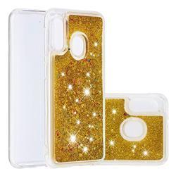 Dynamic Liquid Glitter Quicksand Sequins TPU Phone Case for Samsung Galaxy A20e - Golden