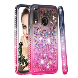 Diamond Frame Liquid Glitter Quicksand Sequins Phone Case for Samsung Galaxy A20e - Gray Pink
