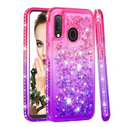 Diamond Frame Liquid Glitter Quicksand Sequins Phone Case for Samsung Galaxy A20e - Pink Purple