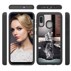 Cat and Tiger Shock Absorbing Hybrid Defender Rugged Phone Case Cover for Samsung Galaxy A20e