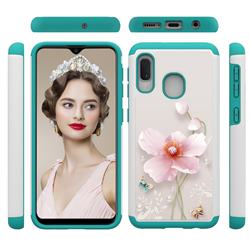 Pearl Flower Shock Absorbing Hybrid Defender Rugged Phone Case Cover for Samsung Galaxy A20e