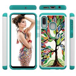 Multicolored Tree Shock Absorbing Hybrid Defender Rugged Phone Case Cover for Samsung Galaxy A20e