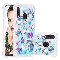 Fashion Unicorn Dynamic Liquid Glitter Sand Quicksand Star TPU Case for Samsung Galaxy A20e