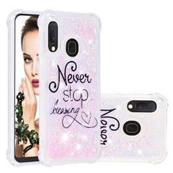 Never Stop Dreaming Dynamic Liquid Glitter Sand Quicksand Star TPU Case for Samsung Galaxy A20e