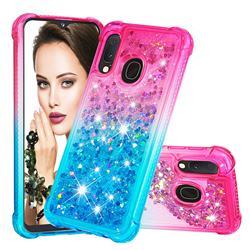 Rainbow Gradient Liquid Glitter Quicksand Sequins Phone Case for Samsung Galaxy A20e - Pink Blue