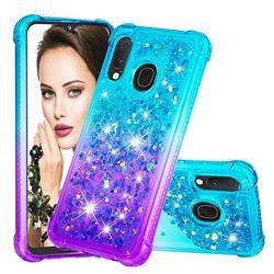 Rainbow Gradient Liquid Glitter Quicksand Sequins Phone Case for Samsung Galaxy A20e - Blue Purple
