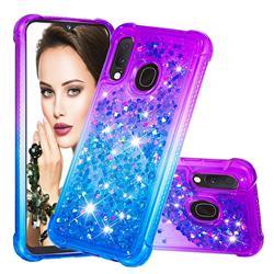 Rainbow Gradient Liquid Glitter Quicksand Sequins Phone Case for Samsung Galaxy A20e - Purple Blue