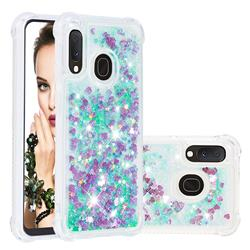 Dynamic Liquid Glitter Sand Quicksand TPU Case for Samsung Galaxy A20e - Green Love Heart