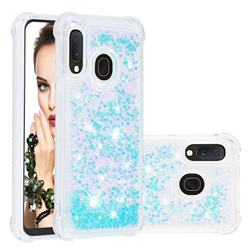 Dynamic Liquid Glitter Sand Quicksand TPU Case for Samsung Galaxy A20e - Silver Blue Star